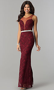 Image of illusion-bodice lace long prom dress with slit. Style: SOI-D16648 Detail Image 3