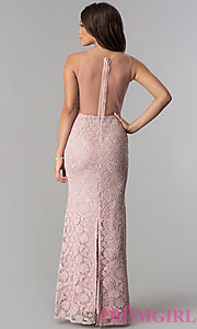 Image of illusion-bodice lace long prom dress with slit. Style: SOI-D16648 Back Image