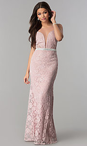 Image of illusion-bodice lace long prom dress with slit. Style: SOI-D16648 Front Image