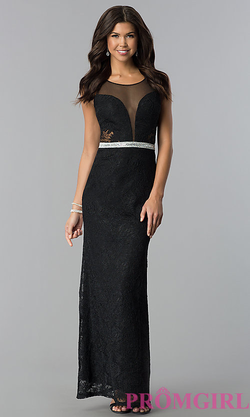 Image of illusion-bodice lace long prom dress with slit. Style: SOI-D16648 Detail Image 2