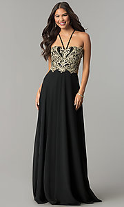 Image of v-neck long embroidered-bodice chiffon prom dress. Style: SOI-M17308 Front Image