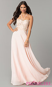 V-Neck Long Embroidered-Bodice Chiffon Prom Dress