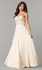 Image of v-neck long embroidered-bodice chiffon prom dress. Style: SOI-M17308 Detail Image 1