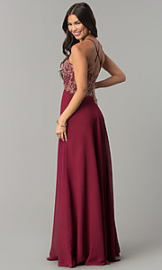 Image of v-neck long embroidered-bodice chiffon prom dress. Style: SOI-M17308 Back Image