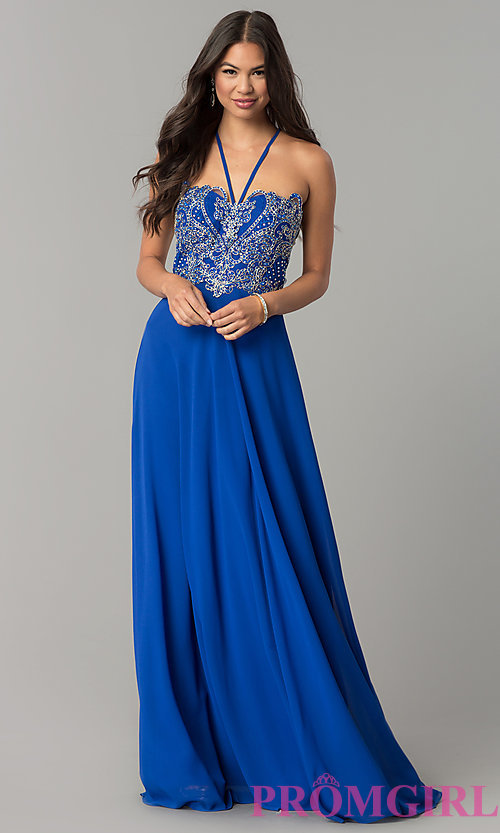 Image of v-neck long embroidered-bodice chiffon prom dress. Style: SOI-M17308 Detail Image 2