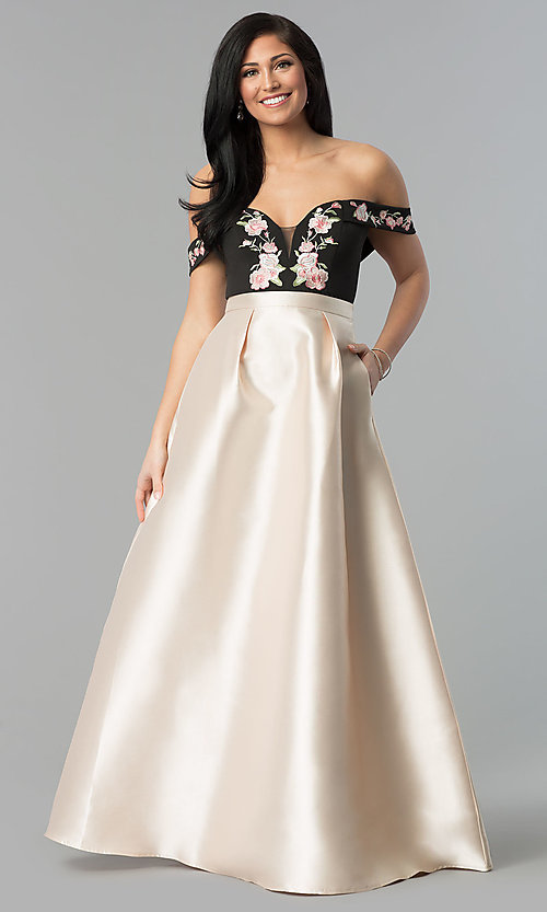 Image of long a-line off-shoulder prom dress with embroidery. Style: SOI-M17367 Front Image