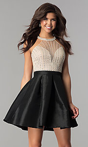 Illusion-Bodice Short Party Dress with Rhinestones