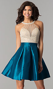 Image of illusion-bodice short party dress with rhinestones. Style: SOI-S17303 Detail Image 2