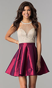 Image of illusion-bodice short party dress with rhinestones. Style: SOI-S17303 Front Image