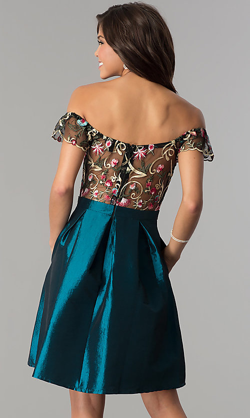 Image of embroidered off-shoulder short taffeta party dress. Style: SOI-S17305 Back Image