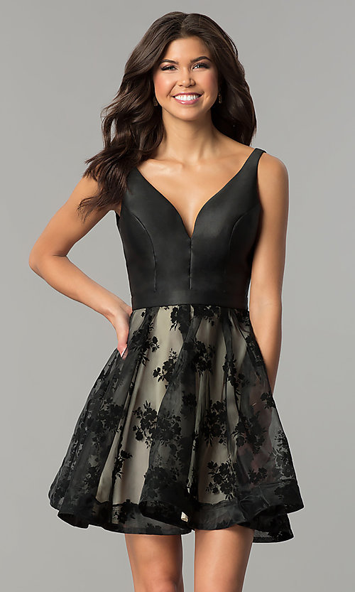 6852035dbd Image of fit-and-flare short prom dress with print skirt. Style