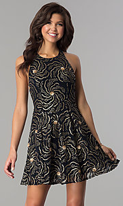 Image of a-line short party dress with sequin print. Style: SOI-D15924 Detail Image 2