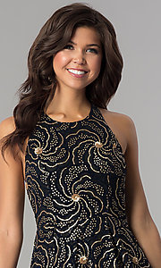 Image of a-line short party dress with sequin print. Style: SOI-D15924 Detail Image 3