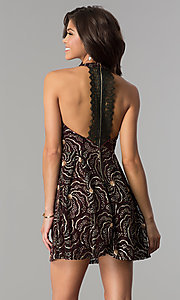 Image of a-line short party dress with sequin print. Style: SOI-D15924 Back Image