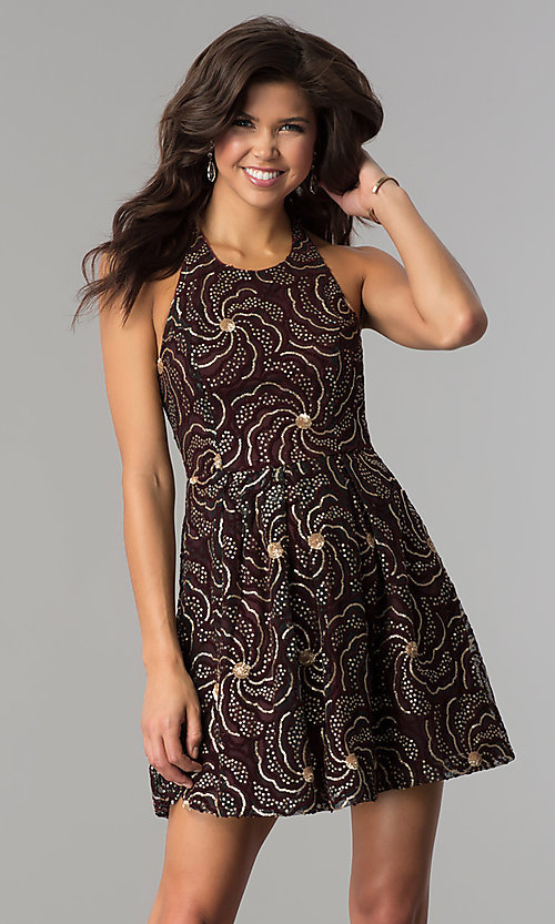 Image of a-line short party dress with sequin print. Style: SOI-D15924 Front Image