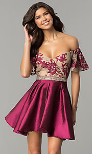 Short Off-the-Shoulder Prom Dress with Rhinestone Waist