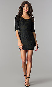 Image of short velvet-print holiday party dress with sleeves. Style: SOI-D15880 Detail Image 3
