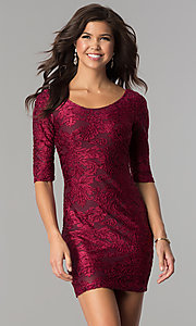 Short Velvet-Print Holiday Party Dress with Sleeves
