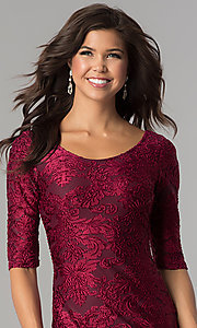 Image of short velvet-print holiday party dress with sleeves. Style: SOI-D15880 Detail Image 1