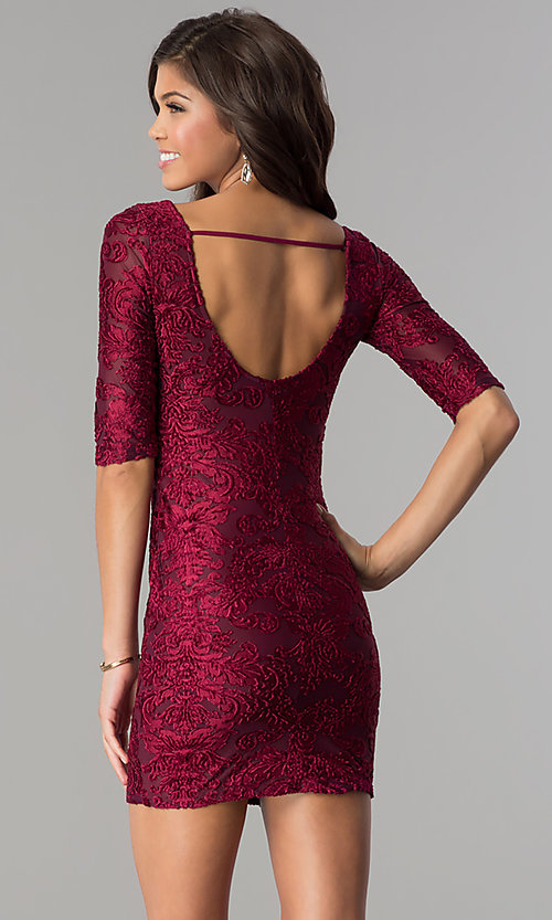 Image of short velvet-print holiday party dress with sleeves. Style: SOI-D15880 Back Image