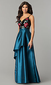 Image of long satin prom dress with sequins and embroidery. Style: SOI-M17201 Front Image