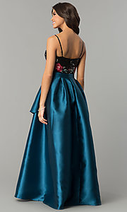 Image of long satin prom dress with sequins and embroidery. Style: SOI-M17201 Detail Image 1
