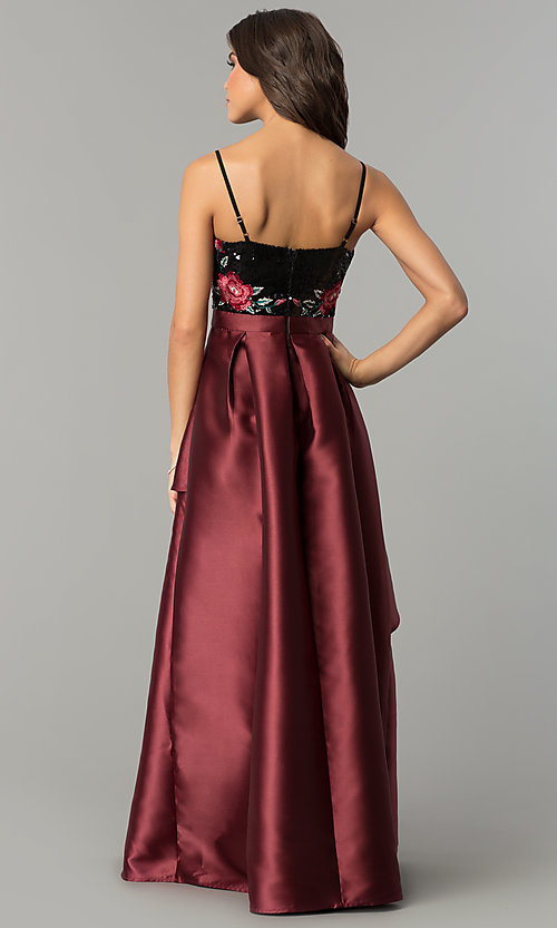 Image of long satin prom dress with sequins and embroidery. Style: SOI-M17201 Back Image