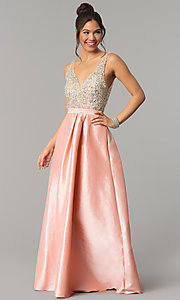 Image of v-neck long a-line prom dress with illusion bodice. Style: SOI-M17327 Front Image