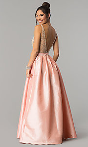 Image of v-neck long a-line prom dress with illusion bodice. Style: SOI-M17327 Back Image