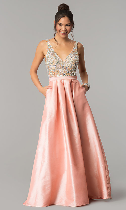 Image of v-neck long a-line prom dress with illusion bodice. Style: SOI-M17327 Detail Image 1