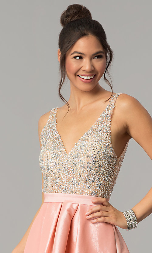 Image of v-neck long a-line prom dress with illusion bodice. Style: SOI-M17327 Detail Image 2