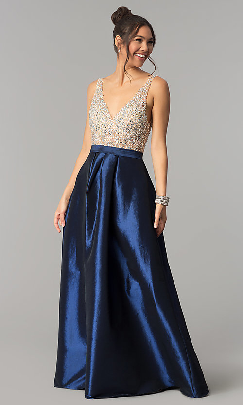 Image of v-neck long a-line prom dress with illusion bodice. Style: SOI-M17327 Detail Image 3