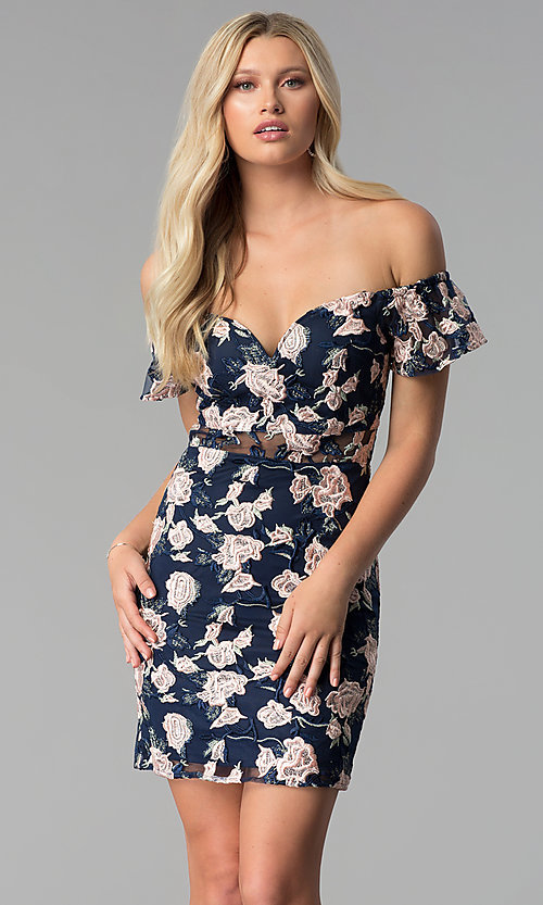 Image of off-shoulder embroidered short cocktail party dress. Style: SOI-S17076 Front Image
