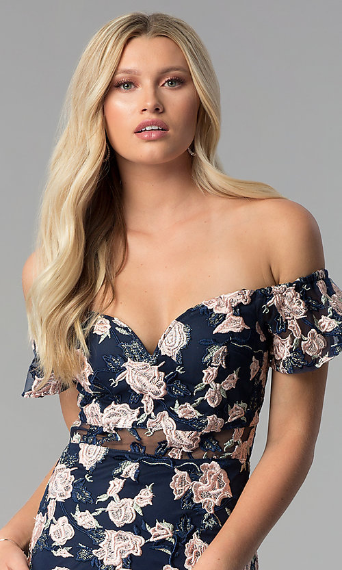 Image of off-shoulder embroidered short cocktail party dress. Style: SOI-S17076 Detail Image 1