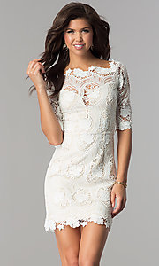 Lace 3/4 Sleeve Short Party Dress
