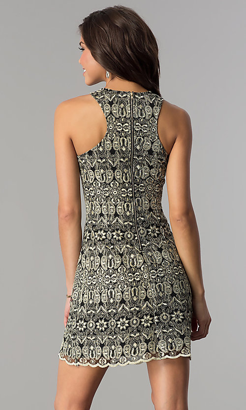Image of short embroidered party dress with rhinestone collar. Style: SOI-D15971 Back Image