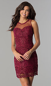 Short Lace Party Dress with Illusion Neckline