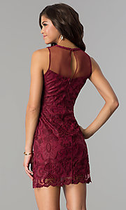 Image of short lace party dress with illusion high neckline. Style: SOI-6189 Back Image