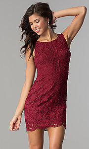 Short Lace Sleeveless Holiday Party Dress