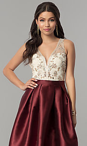 Image of embroidered-bodice long satin prom dress. Style: SOI-M17178 Detail Image 1