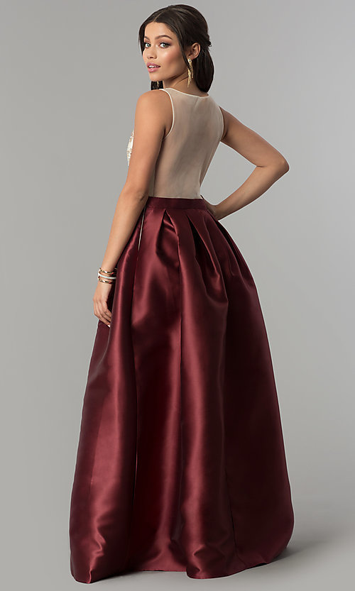 Image of embroidered-bodice long satin prom dress. Style: SOI-M17178 Back Image