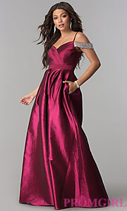 Image of off-the-shoulder long taffeta prom dress with pockets. Style: SOI-M17092 Front Image