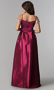 Image of off-the-shoulder long taffeta prom dress with pockets. Style: SOI-M17092 Back Image