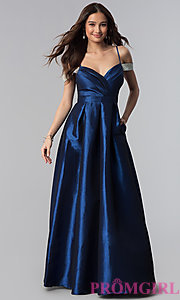 Image of off-the-shoulder long taffeta prom dress with pockets. Style: SOI-M17092 Detail Image 3