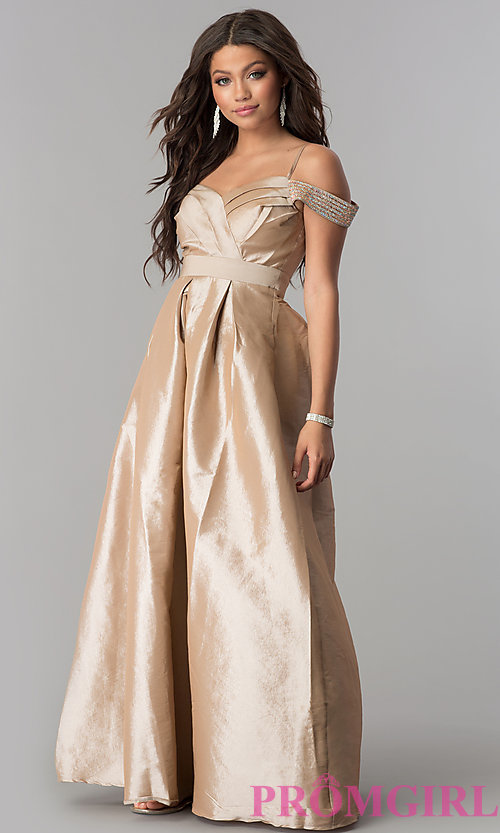 Image of off-the-shoulder long taffeta prom dress with pockets. Style: SOI-M17092 Detail Image 2