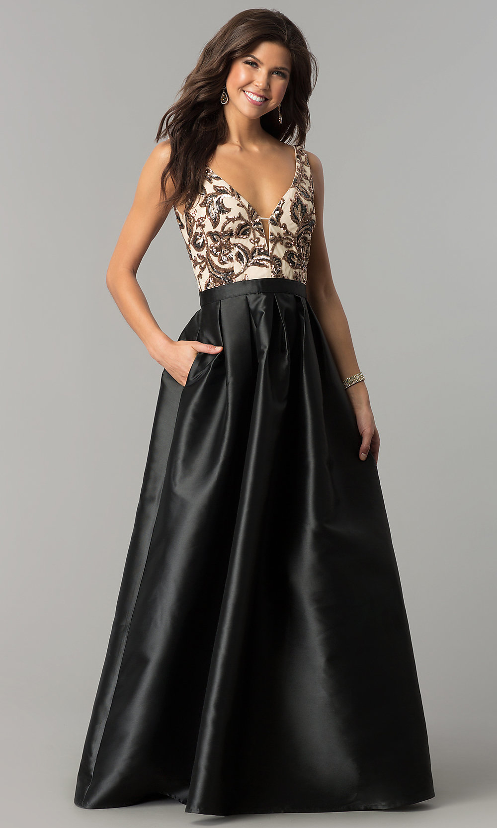 Long Pocketed Satin Prom Dress With Sequins - PromGirl
