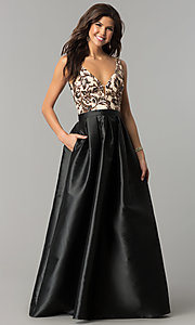 Image of long sequin-bodice satin prom dress with pockets. Style: SOI-M17255B09 Front Image