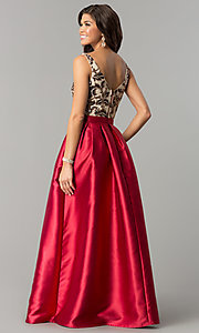 Image of long sequin-bodice satin prom dress with pockets. Style: SOI-M17255B09 Detail Image 2