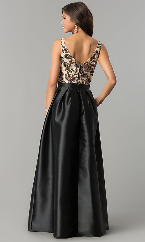 Image of long sequin-bodice satin prom dress with pockets. Style: SOI-M17255B09 Back Image