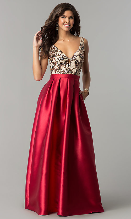 Image of long sequin-bodice satin prom dress with pockets. Style: SOI-M17255B09 Detail Image 1